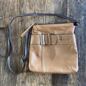 Vera Pelle Tan Leather Buckle Crossbody Bag